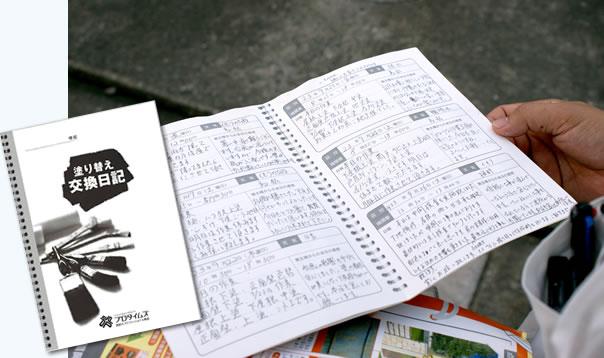 進捗を報告する交換日記の実施