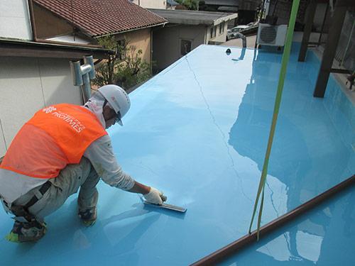 屋上防水工事(ウレタン塗膜通気工法)